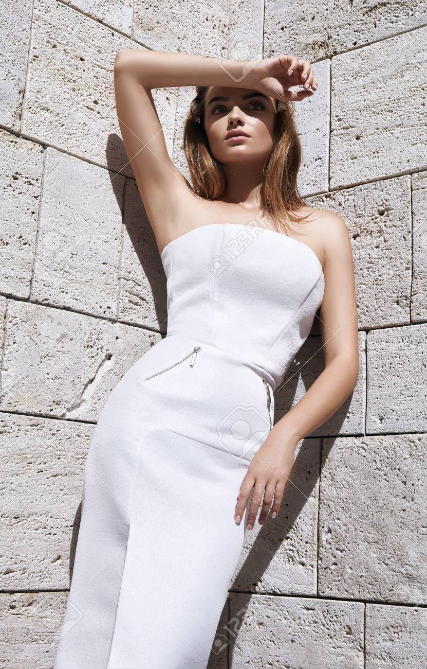 Beautiful Sexy Woman Blond Hair Model Fashion Style Dress Wear White Color Sun Shine Shadow