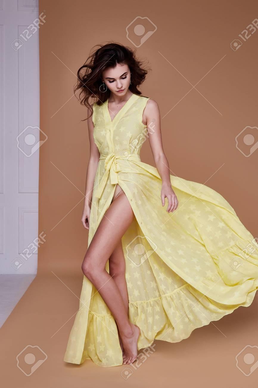Yellow dress tan skin