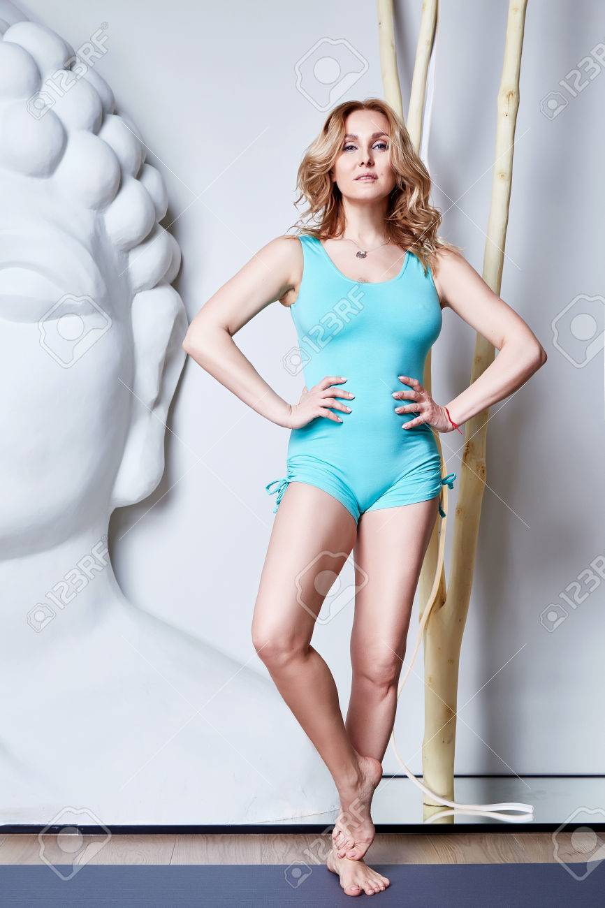 Sexy Beautiful Woman Blond Hair Sporty Body Shape Yoga Exercise Or Fitnessathletic