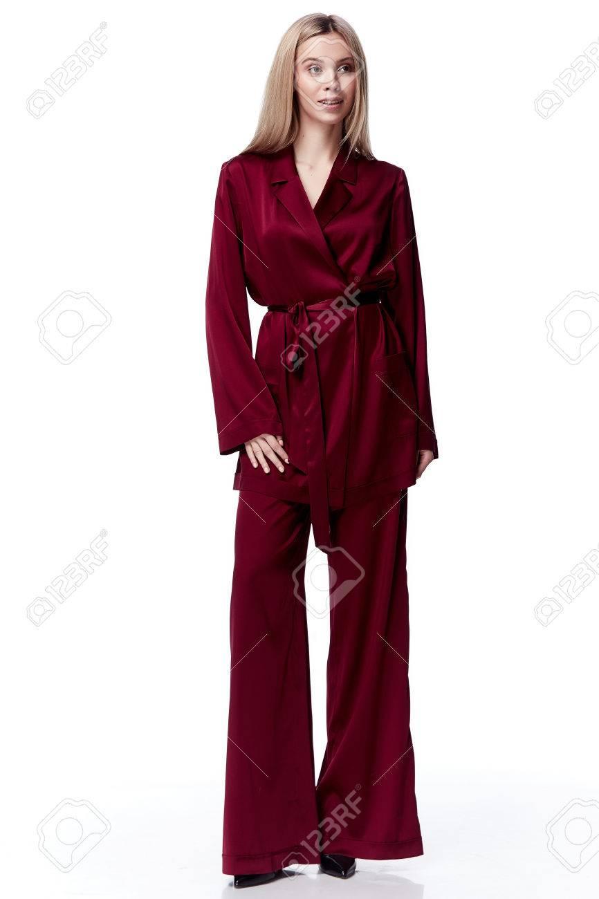 b0f81b6736ca Sexy pretty beautiful woman fashion model blond hair woman wear red silk  suit blouse pants pajama