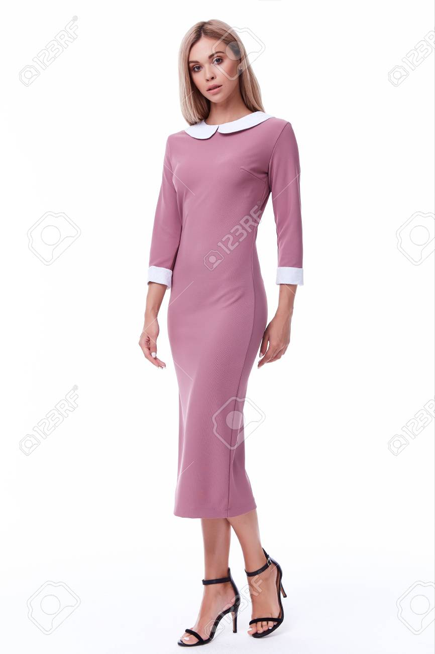 33def7350e Stock Photo - Woman blond hair wear office pink dress code style pretty  beautiful face model pose catalog of fashion clothes businesswoman white  background ...