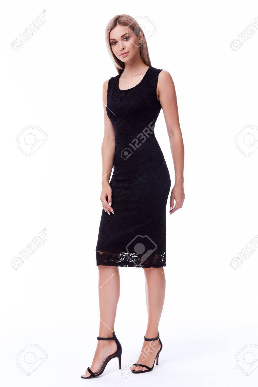 Blond Hair Woman Wear Office Black Dress