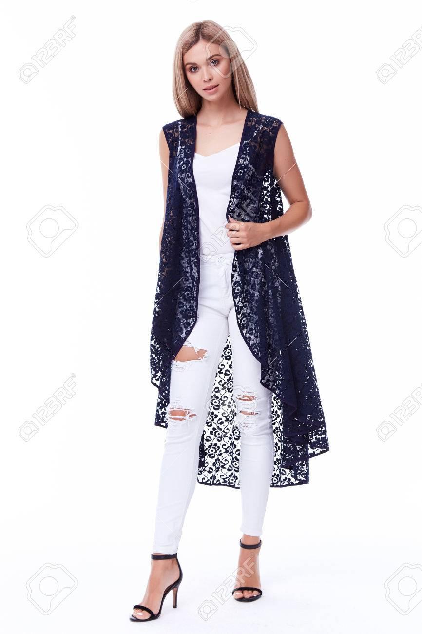 Sexy Pretty Woman Fashion Model Blond Hair Glamor Pose Wear Black