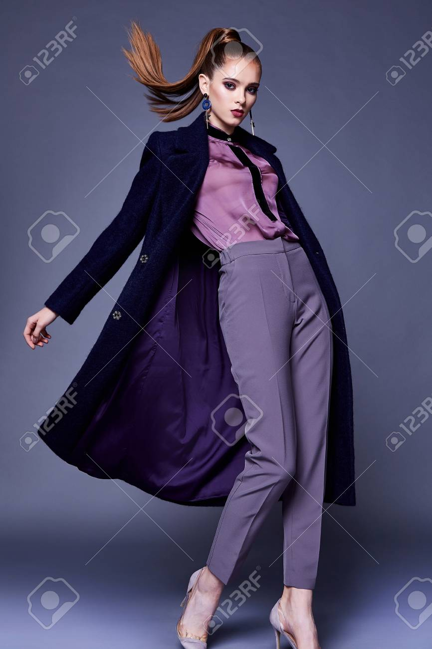 Beautiful business woman wear black wool coat silk blouse and pants style for office dress cone uniform busy lady glamor makeup face cosmetic fall winter collection casual clothes fashion. - 91790282