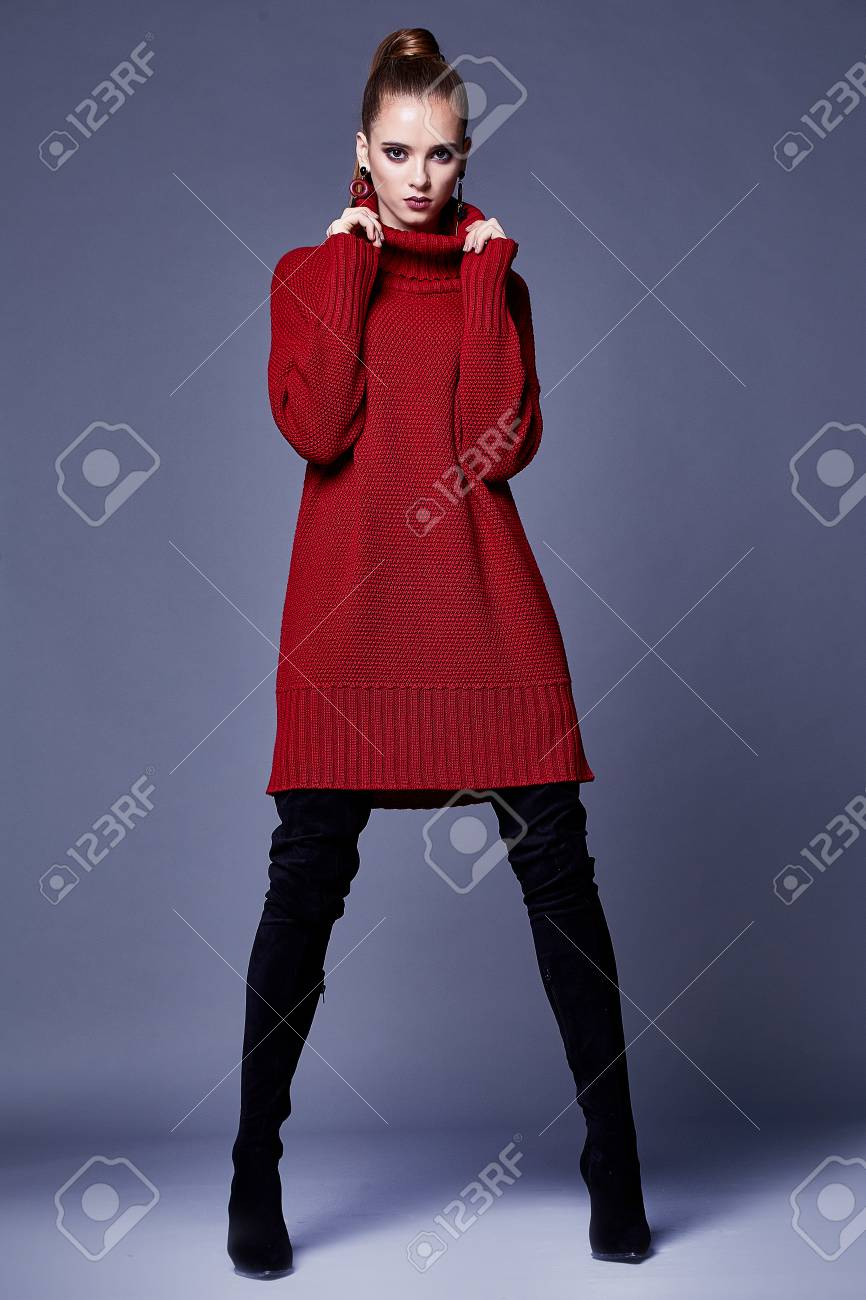 Sexy beautiful woman elegant lady wear casual clothes for every day red wool cashmere merino knitted dress fall winter collection lather black shoes fashion style glamour model wear trend brunette. - 91790181