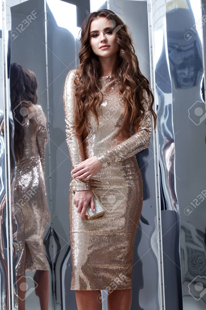Sexy Beautiful Woman Wear Lux Skinny Shine Gold Dress Shiny Sequins