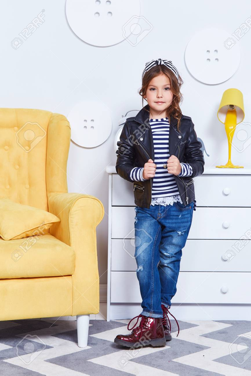 896e3279b681 Fashion Style Clothes For Child Small Little Girl Wear Strip.. Stock ...