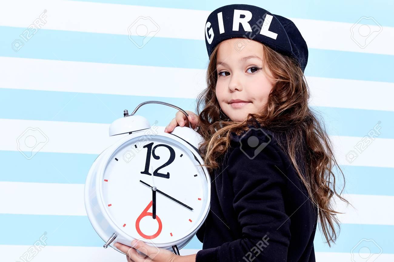 School small baby girl dress for schoolgirl pupil uniform beret socks hat  fun smile curly hair 982fda92fb7