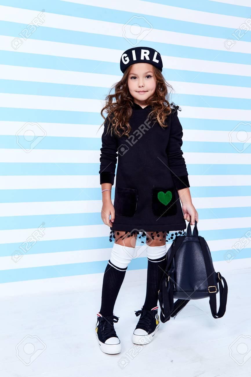 School small baby girl dress for schoolgirl pupil uniform bag beret socks  hat fun smile curly 9c460a12547