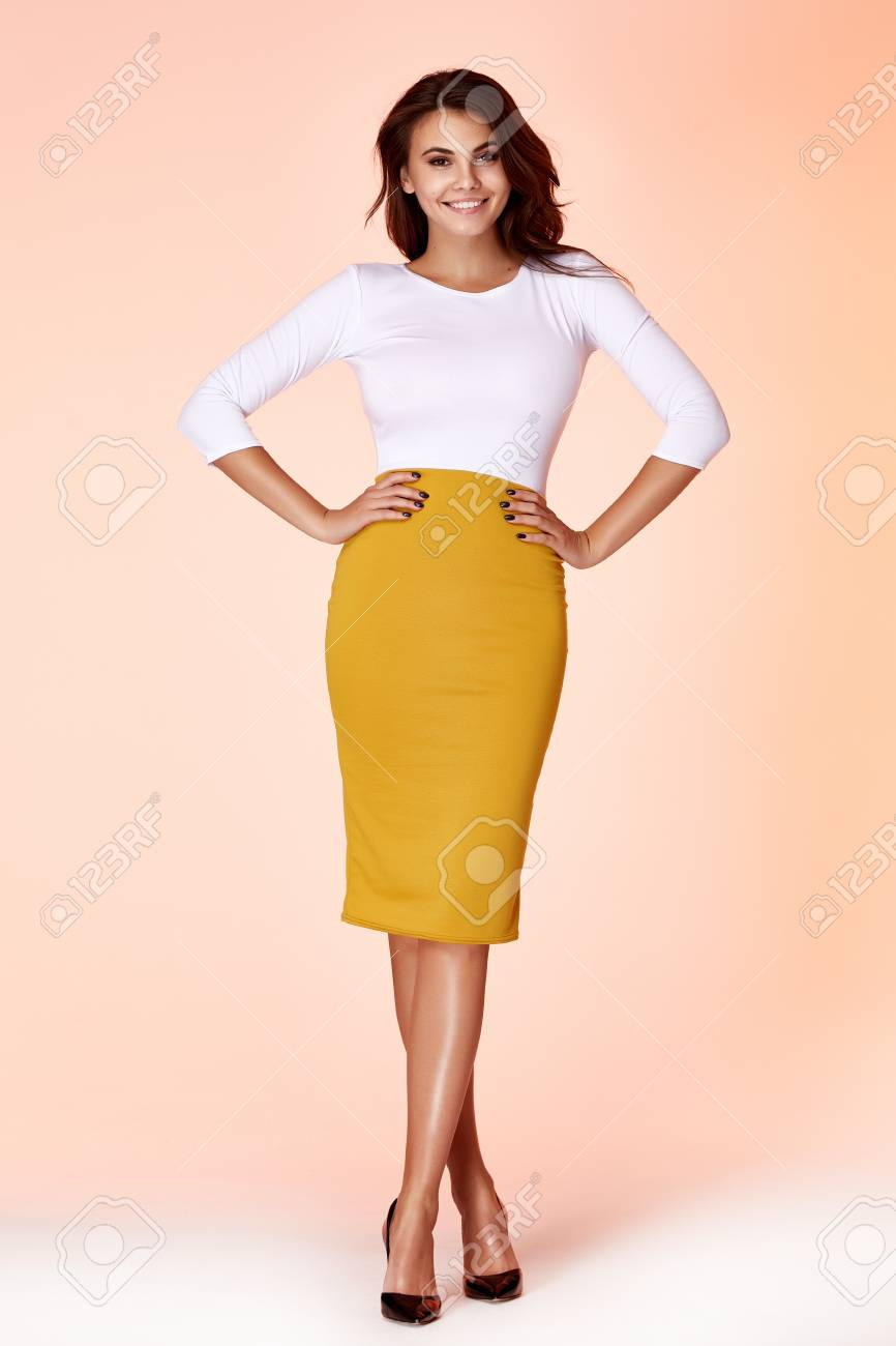 7e371a19dc6c8 Portrait beautiful business woman lady style perfect body shape brunette  hair wear yellow skirt white blouse