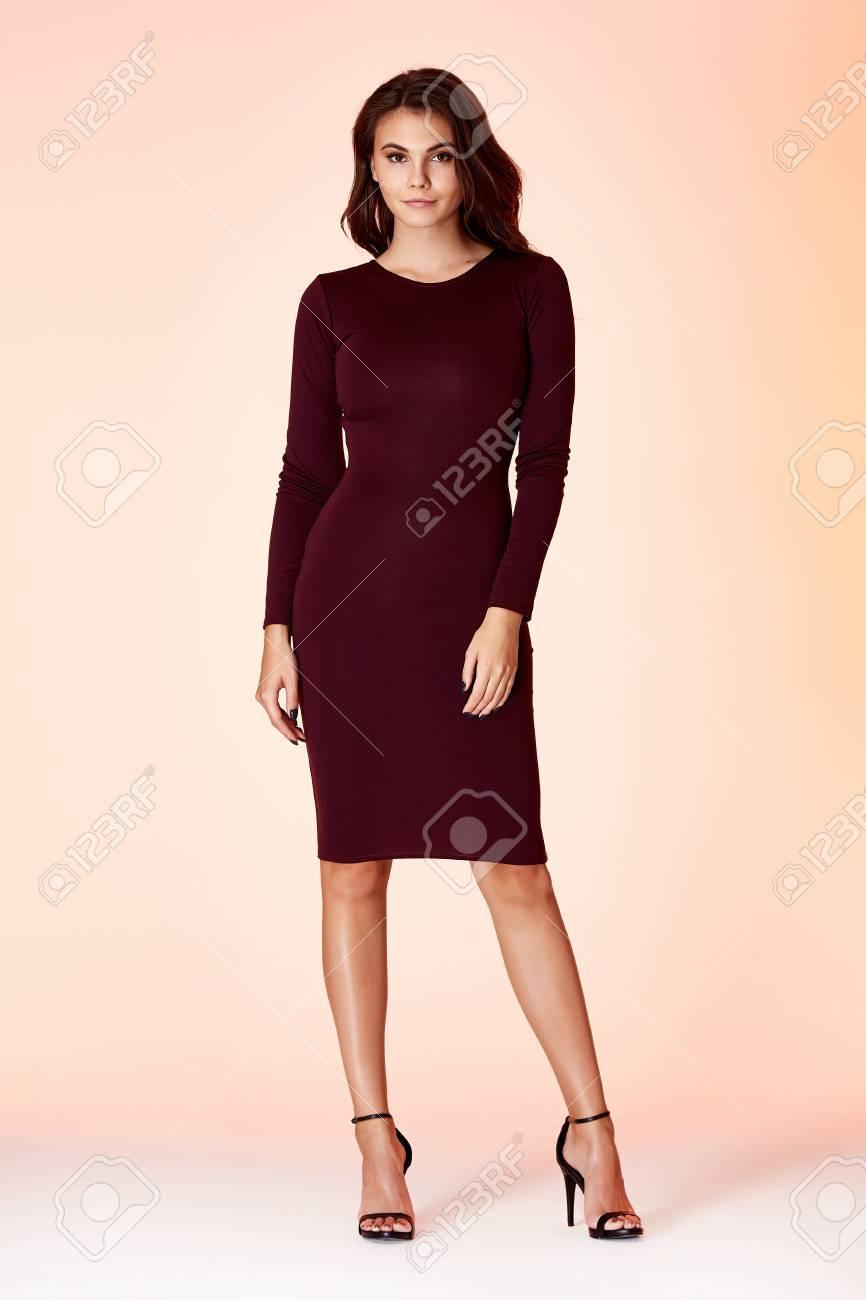 f031244c3ca Glamour fashion woman long brunette hair natural evening makeup..