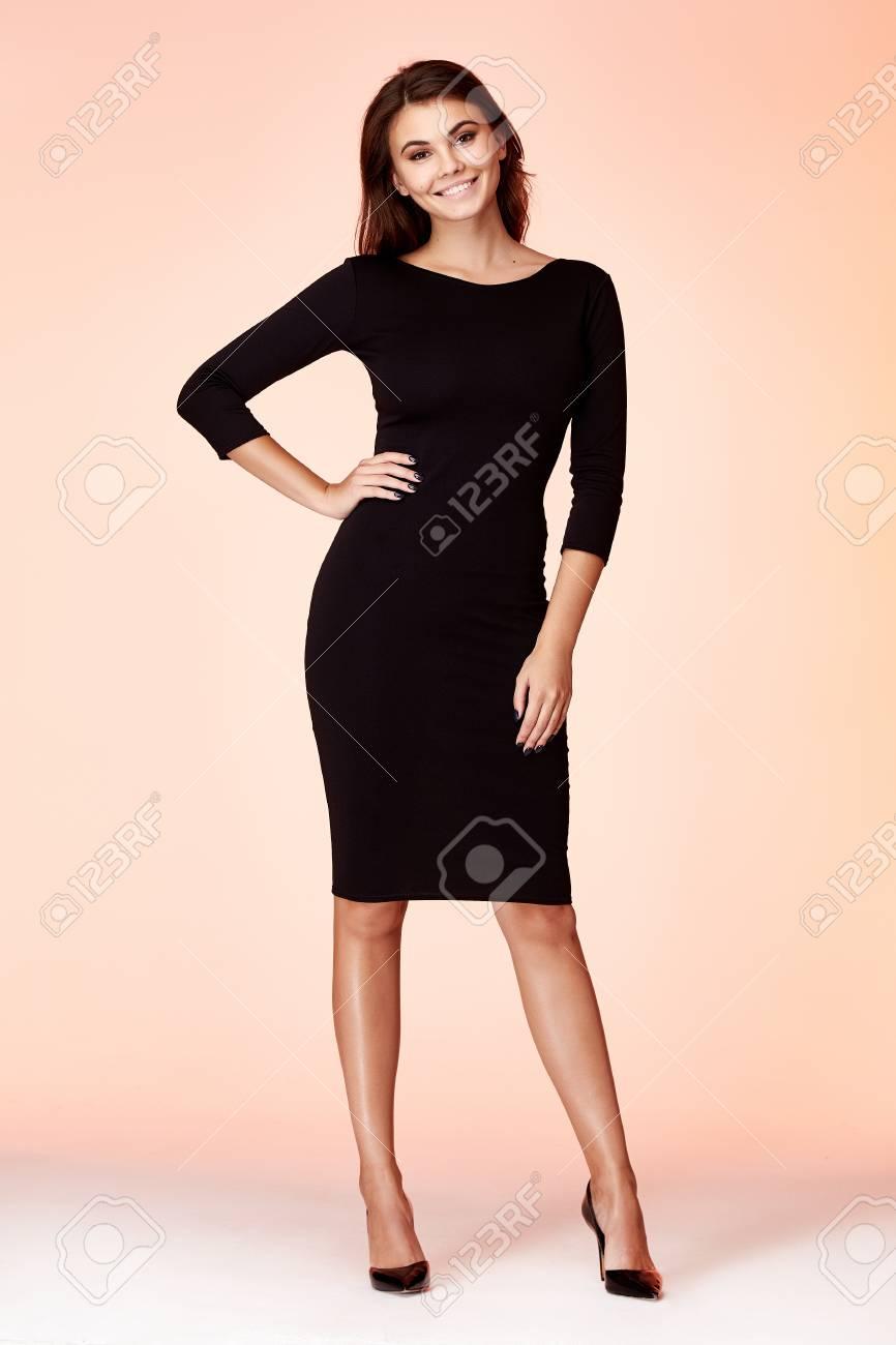 e0f0fad6296e0 Beauty woman model wear stylish design trend clothing black skinny dress  casual formal office style for