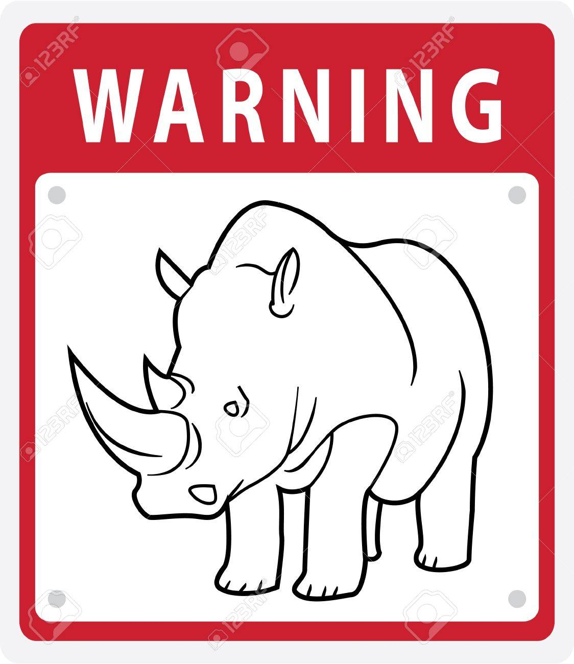 Rhino Warning Symbol Stock Vector - 17444736