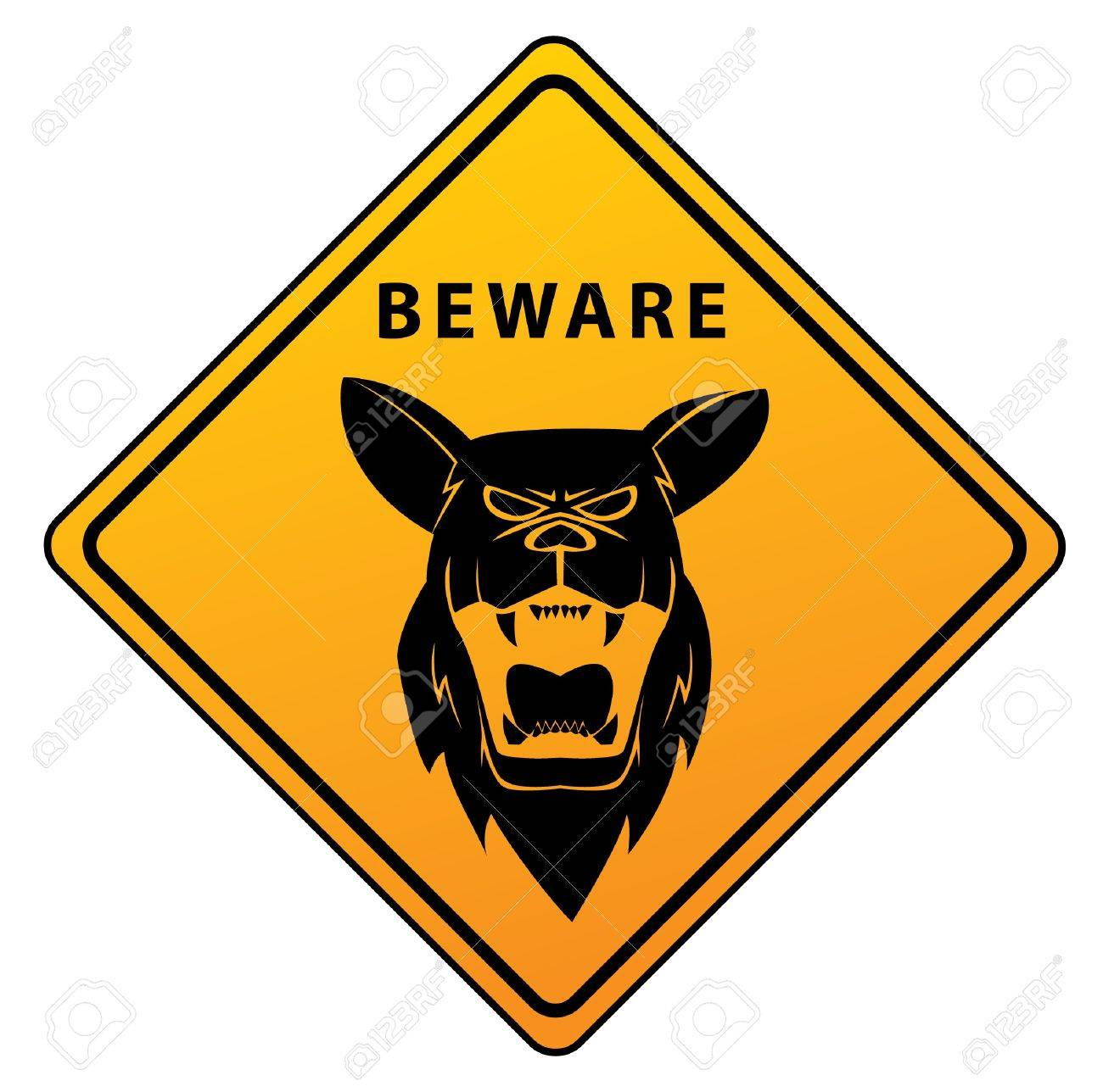 Beware Sign Shepherd Dog Stock Vector - 17444703