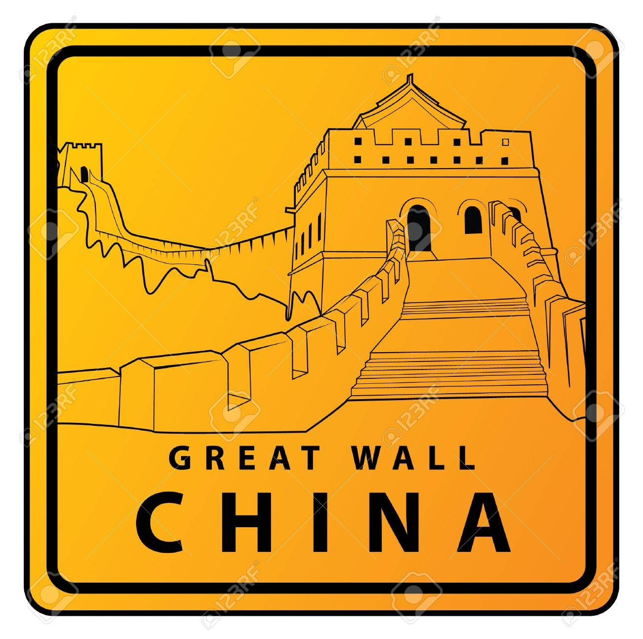 Great Wall China Travel Sign Royalty Free Cliparts, Vectors, And ...