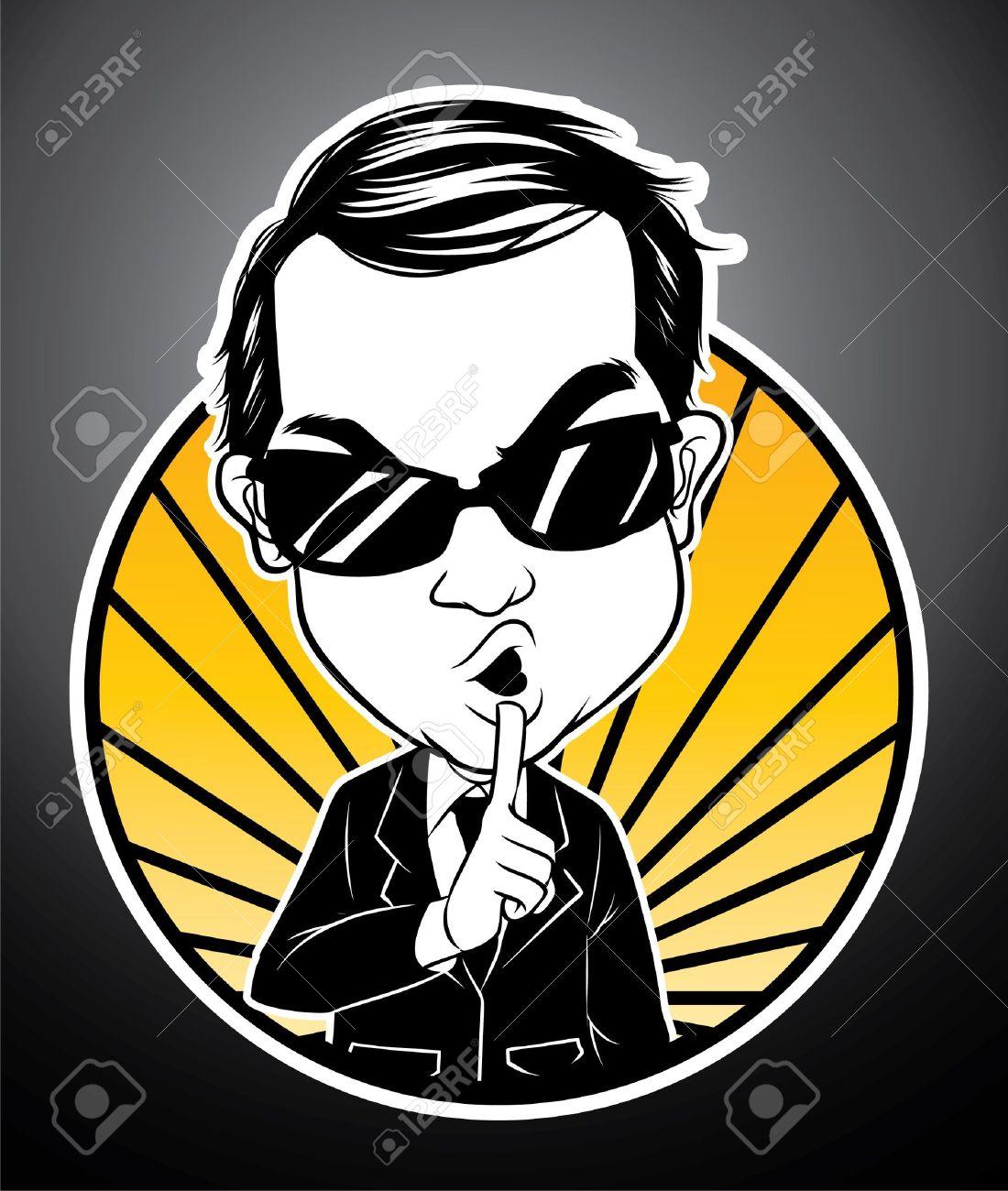 man keep silent Stock Vector - 18398108