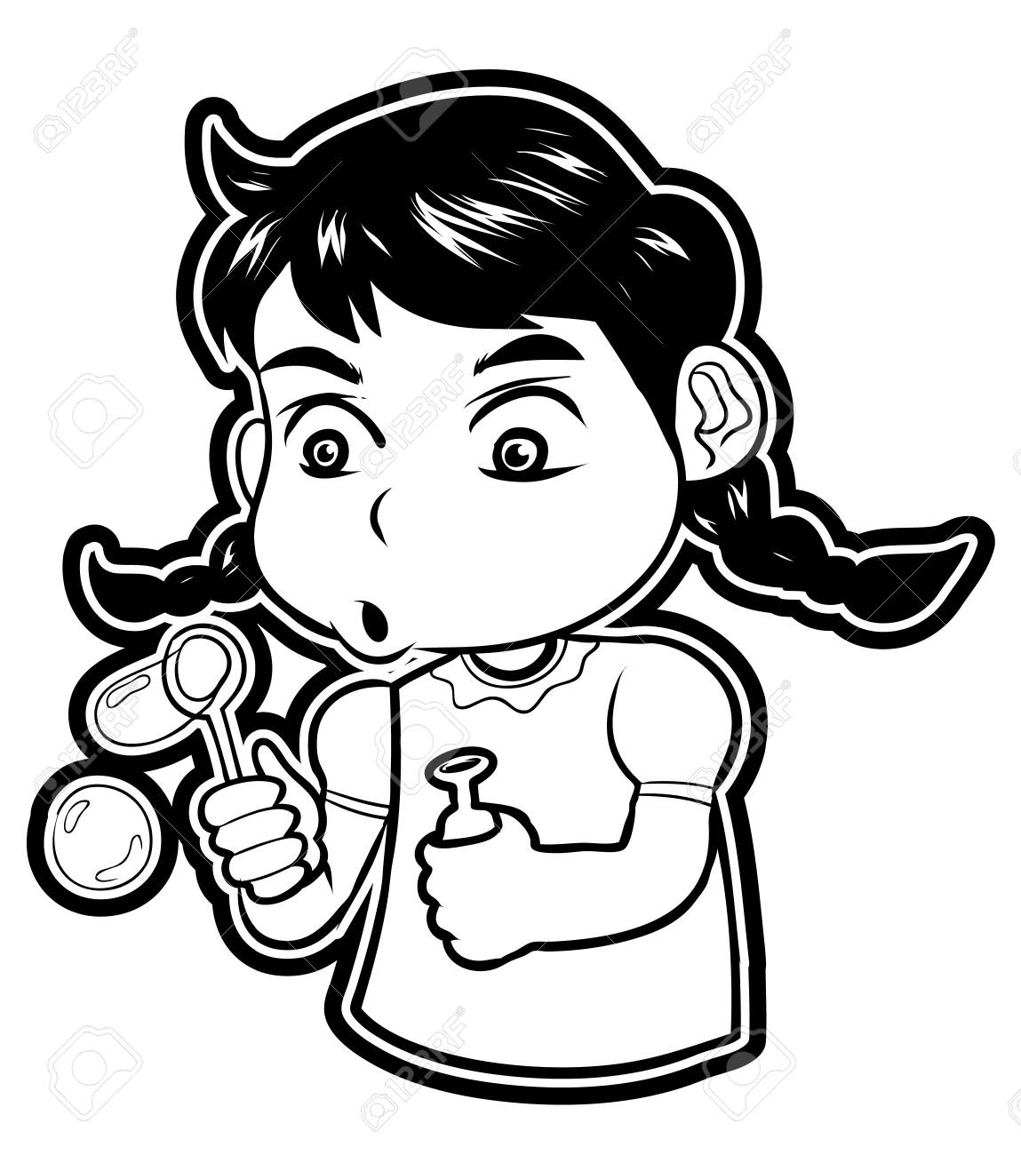 Girl Kid Play Baloon Stock Vector - 18854637
