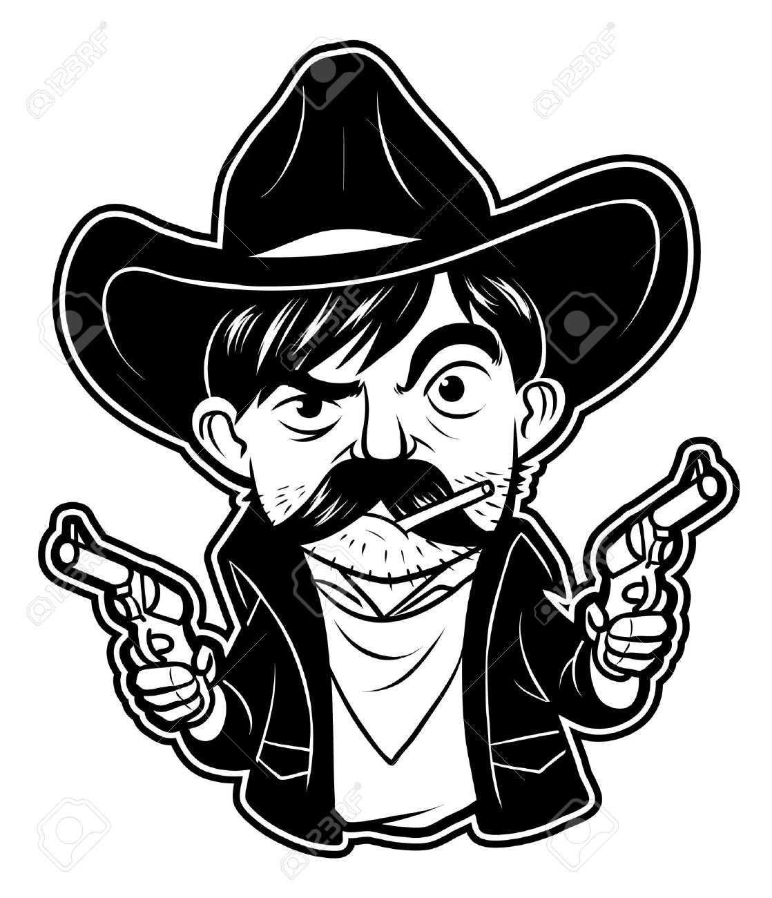 black and white clipart cowboy Stock Vector - 19499063