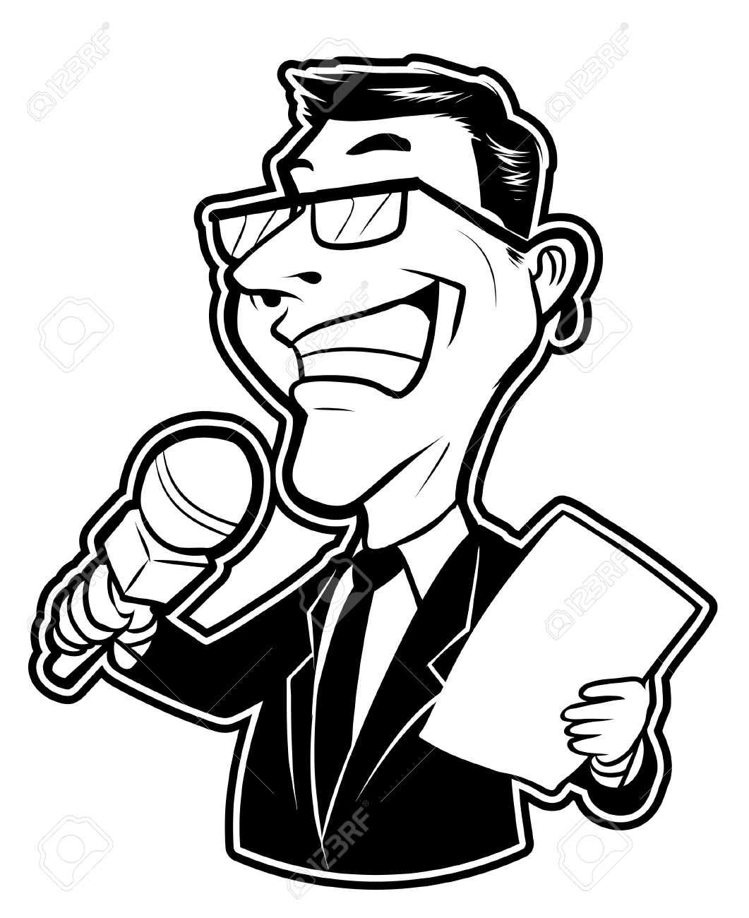 black and white clipart reporter man royalty free cliparts vectors rh 123rf com  journalist clipart black and white