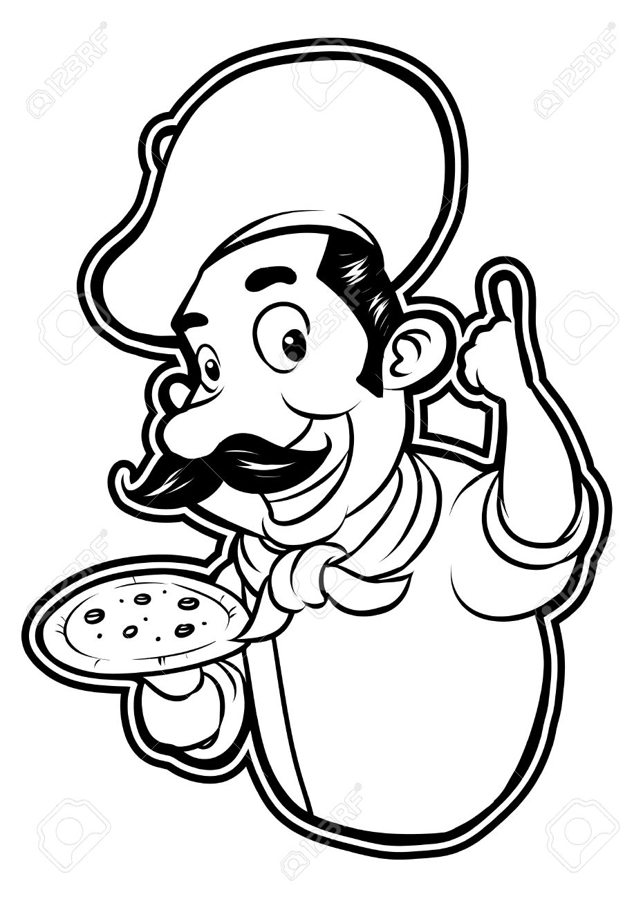 black and white clipart pizza chef royalty free cliparts vectors rh 123rf com pizza clipart black and white free pizza party clipart black and white