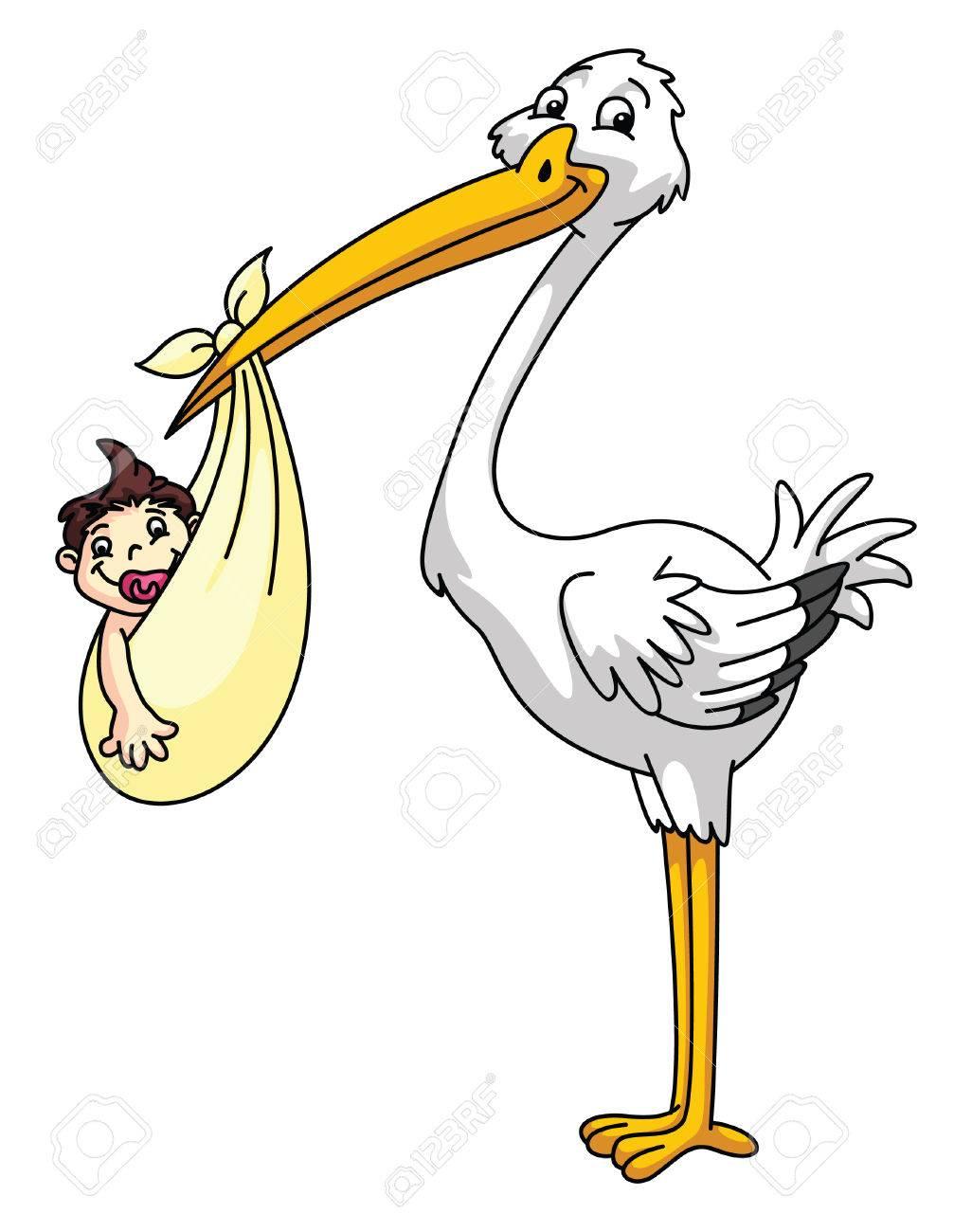 Cigogne Avec Bébé Nouveau Né
