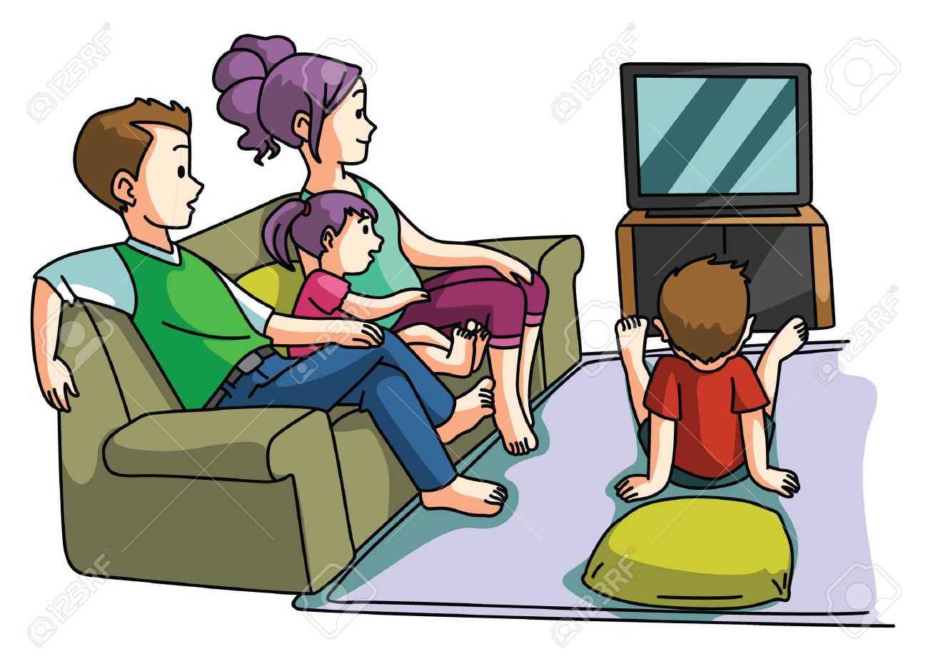 family watching tv time royalty free cliparts vectors and stock