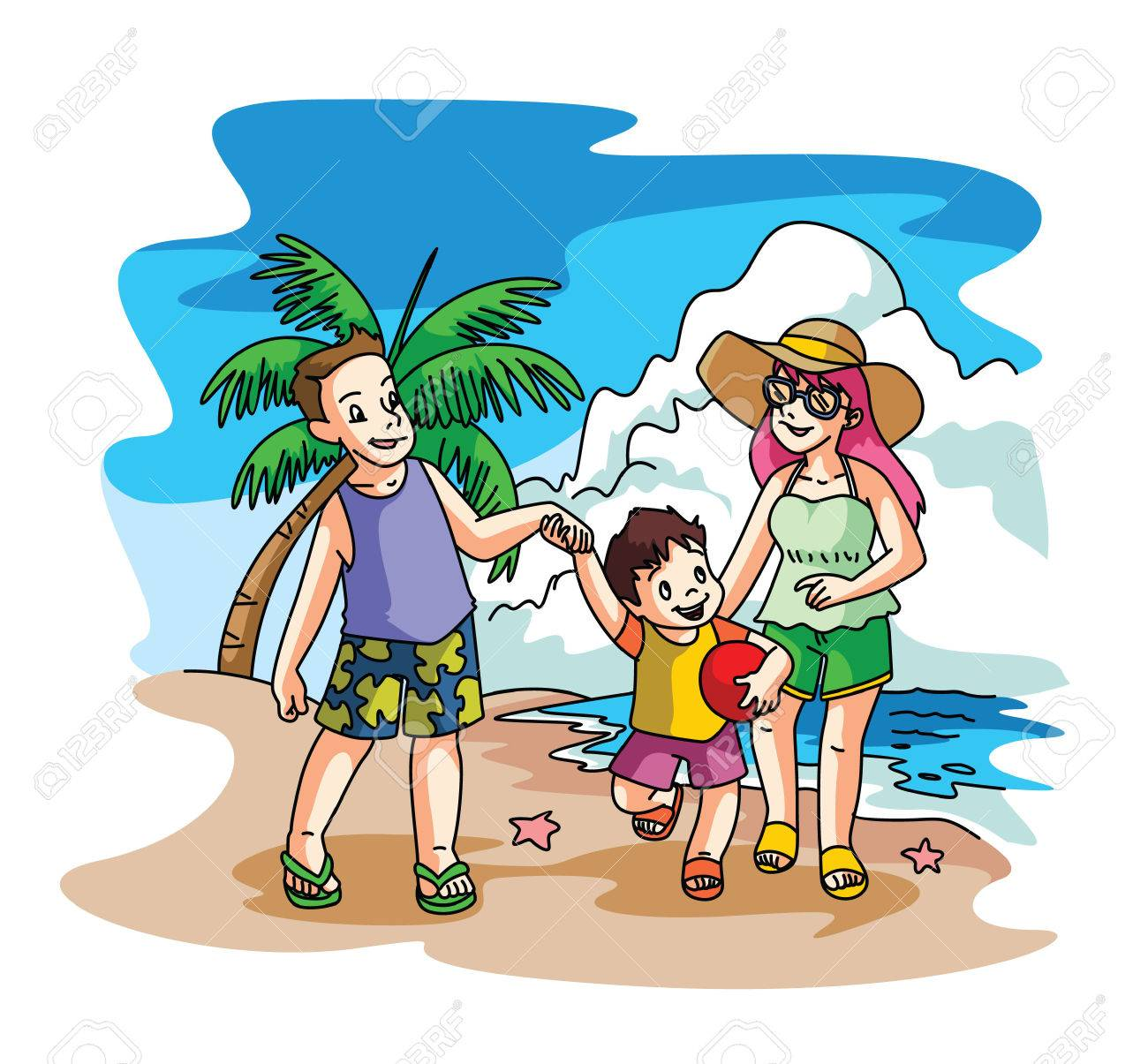 Beach Family Day Stock Vector