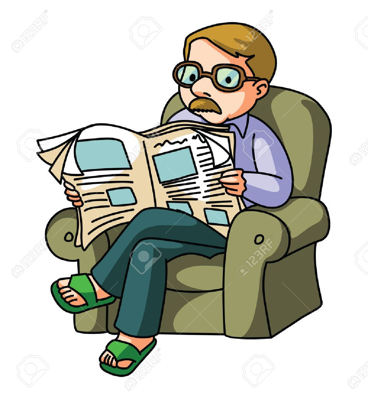 Person Reading Newspaper Clipart