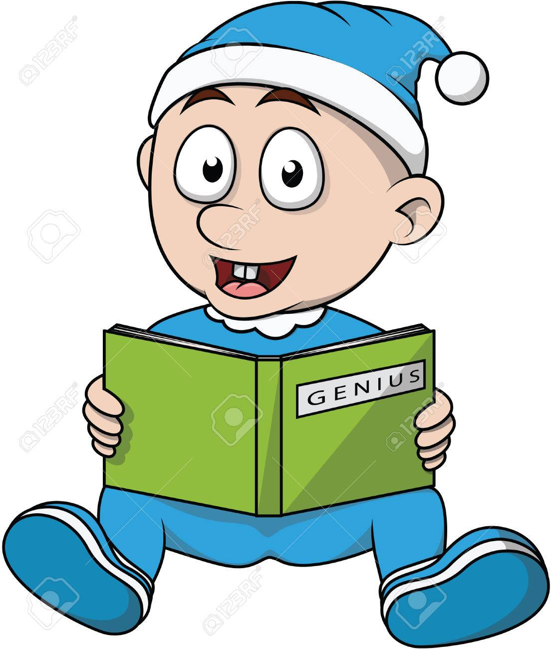 Baby Boy Read Book Cartoon Illustration