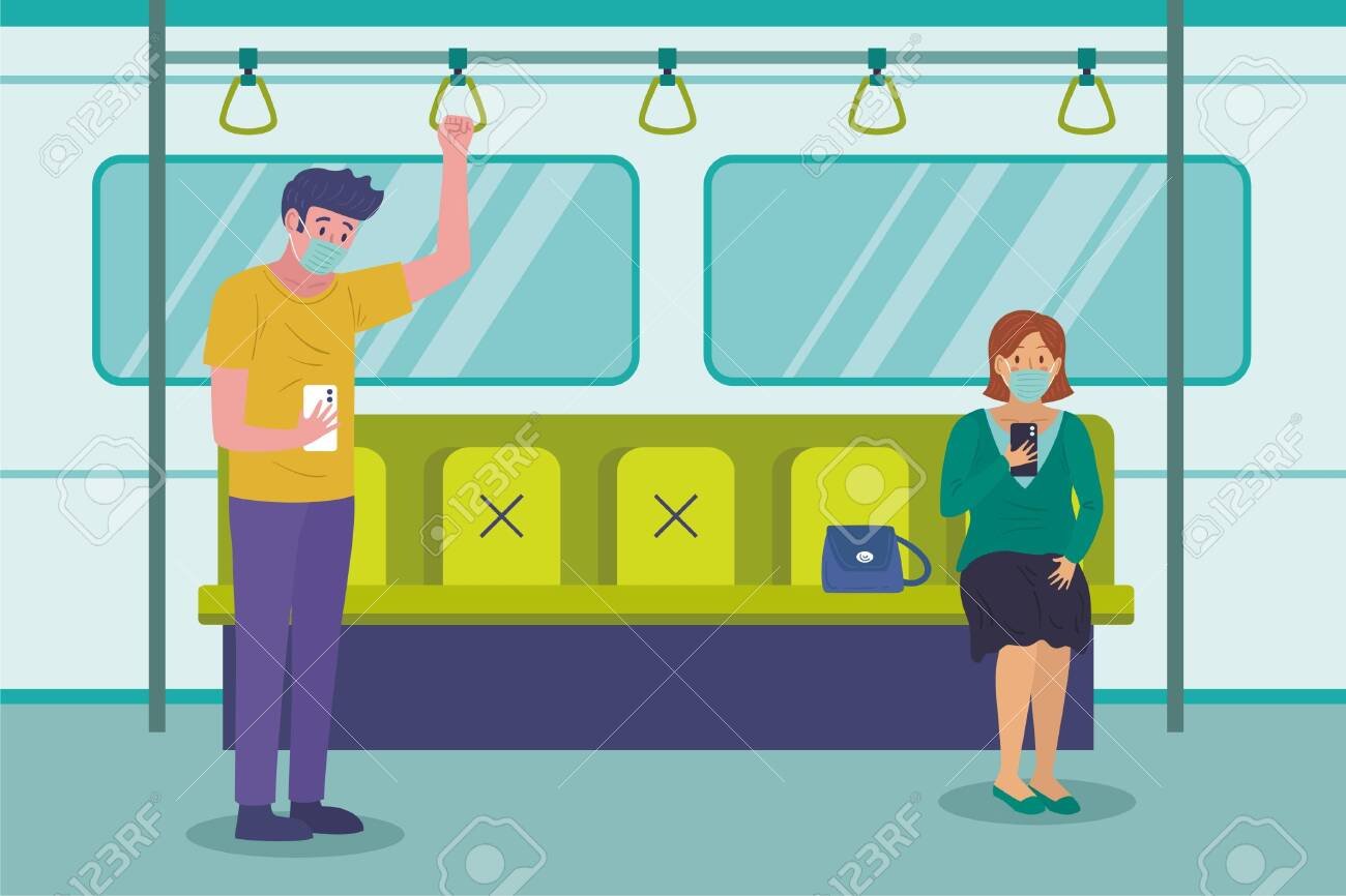 Social distancing concept with people wearing medical masks on subway train. keep spaces between each chairs make separate for social distancing to avoid spreading illness corona virus. - 151126591