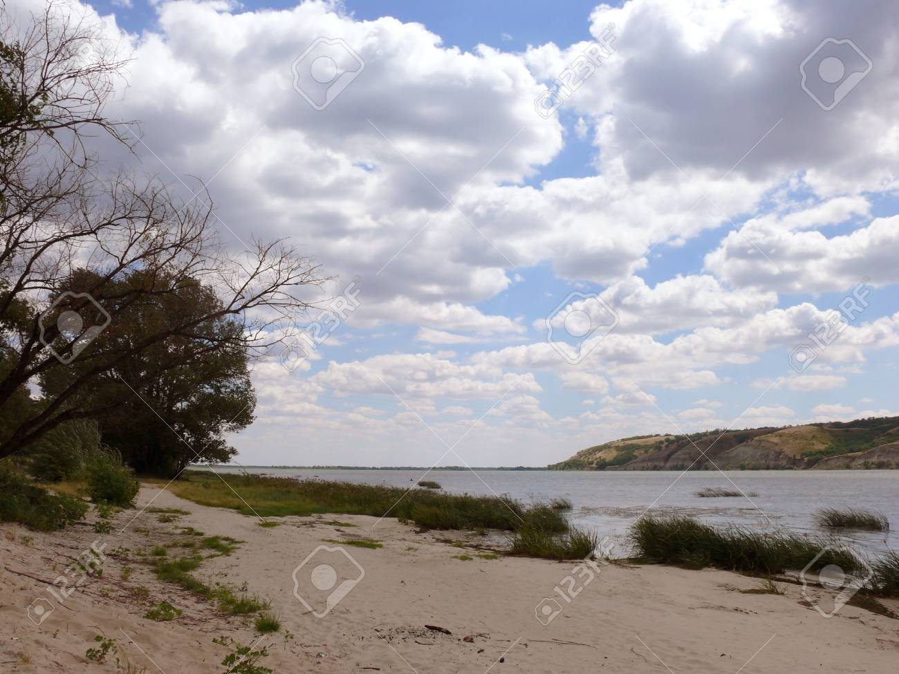 The cloudy sky above the wide river.Silent Don. Stock Photo - 1770637