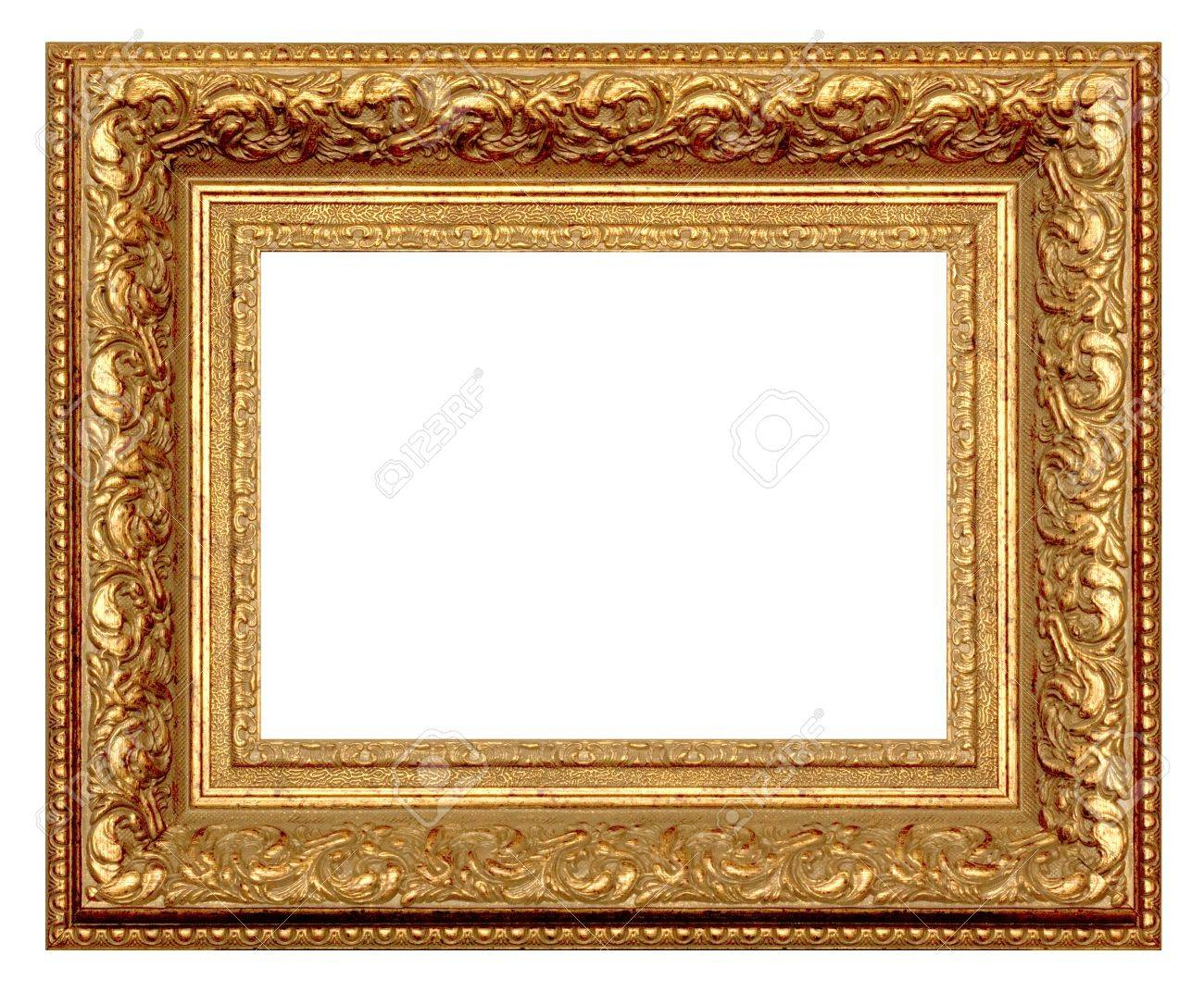 Golden Frame For Painting And Photography. Isolated On A White ...
