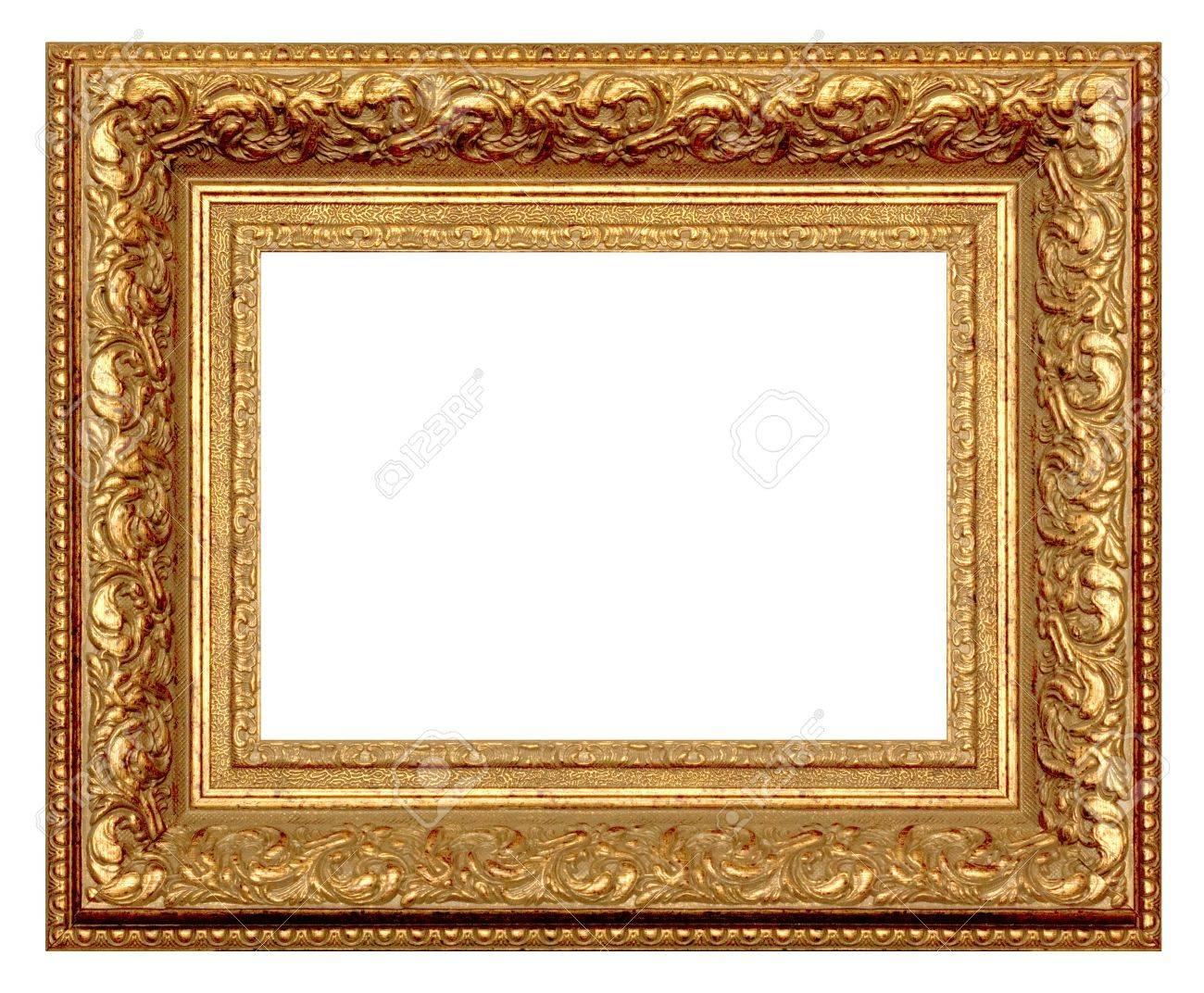 Goldener Rahmen Für Malerei Und Fotografie. Auf Weißem Hintergrund ...