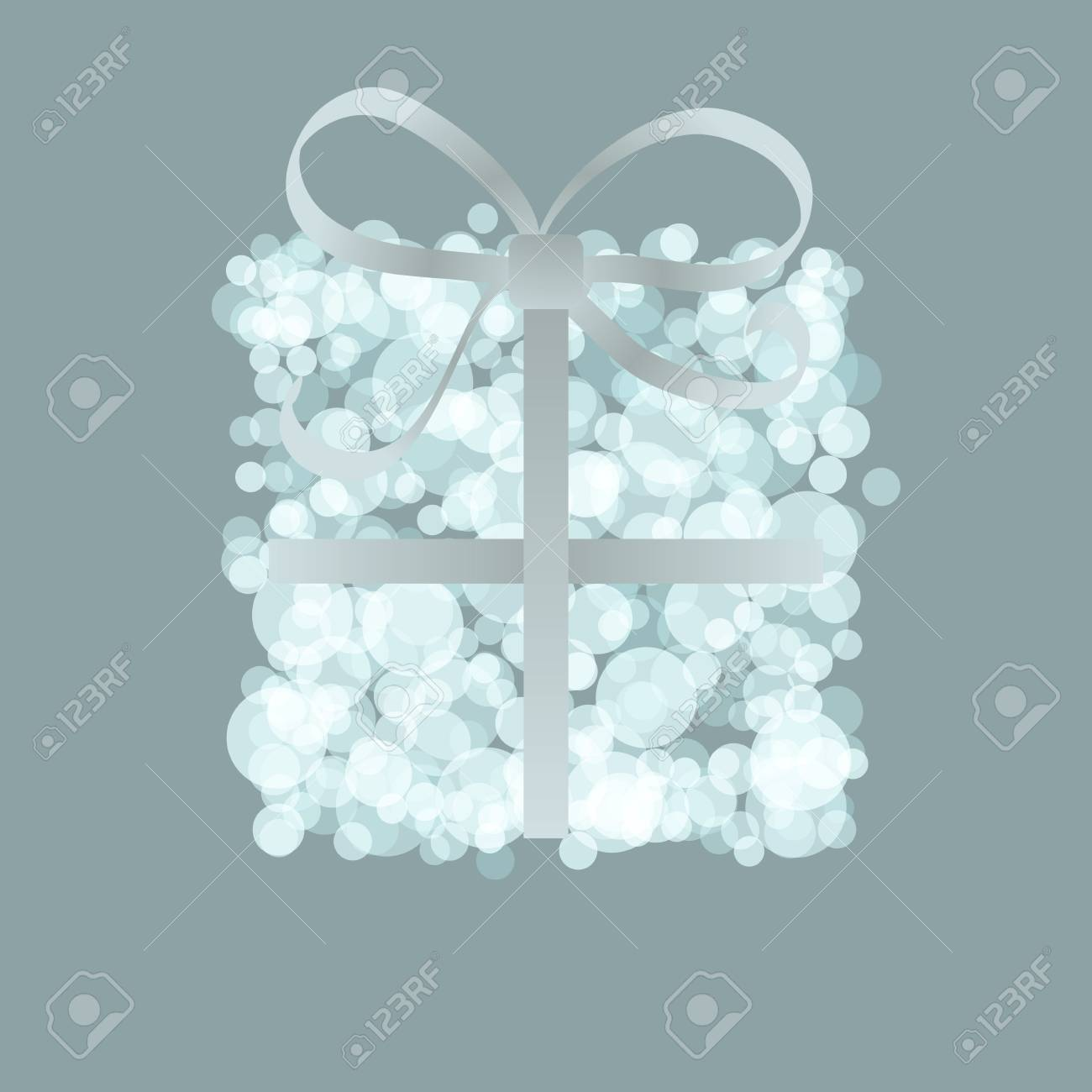 Card with present box from snowballs bow    EPS8 Stock Vector - 17525380