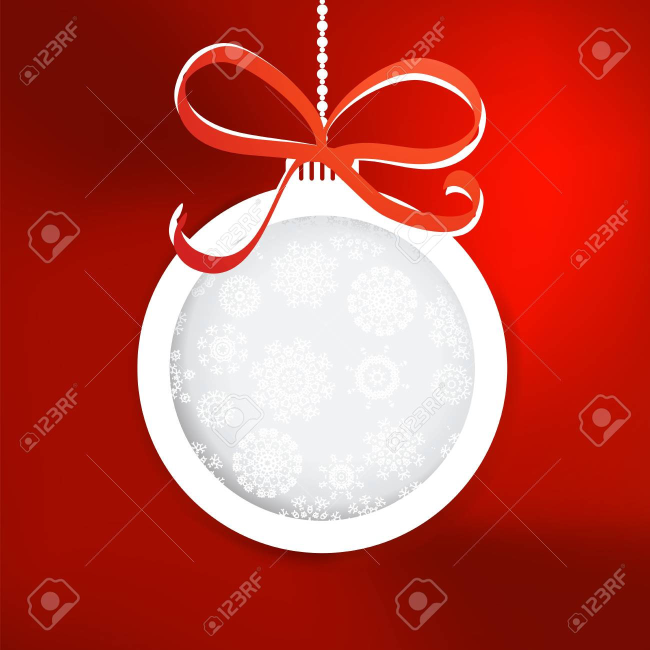 Christmas ball cutted from paper on red     EPS8 Stock Vector - 17525401