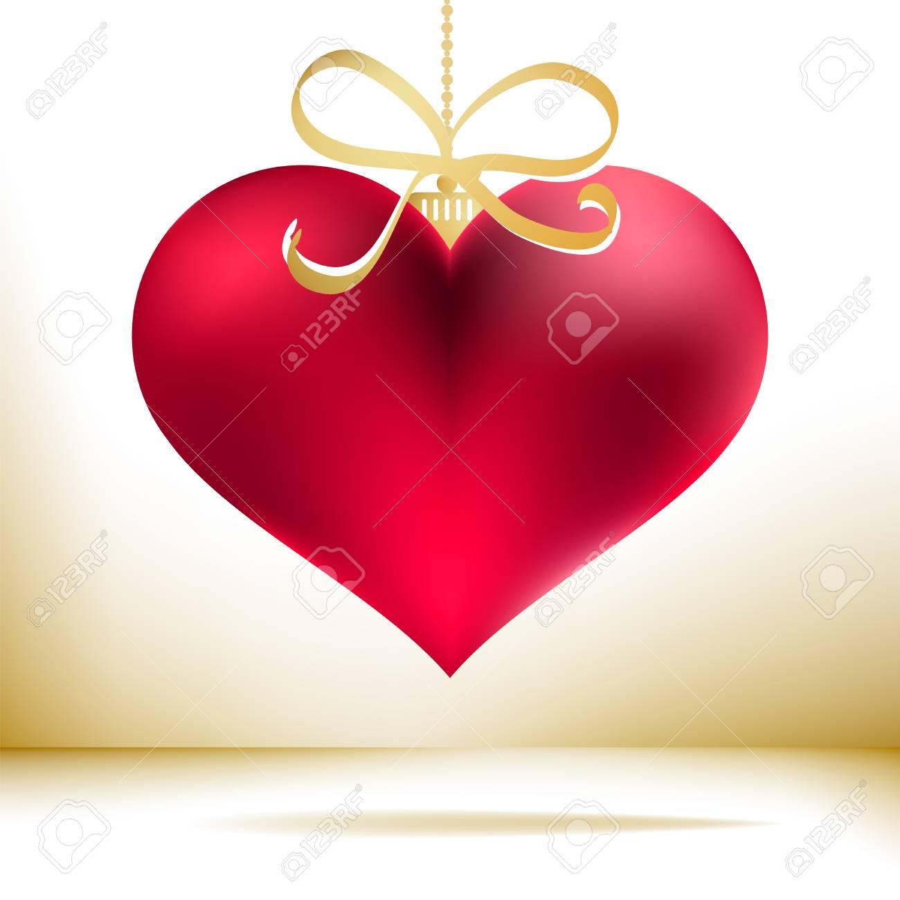 Christmas Heart Vector.Red Christmas Heart Decoration Eps8