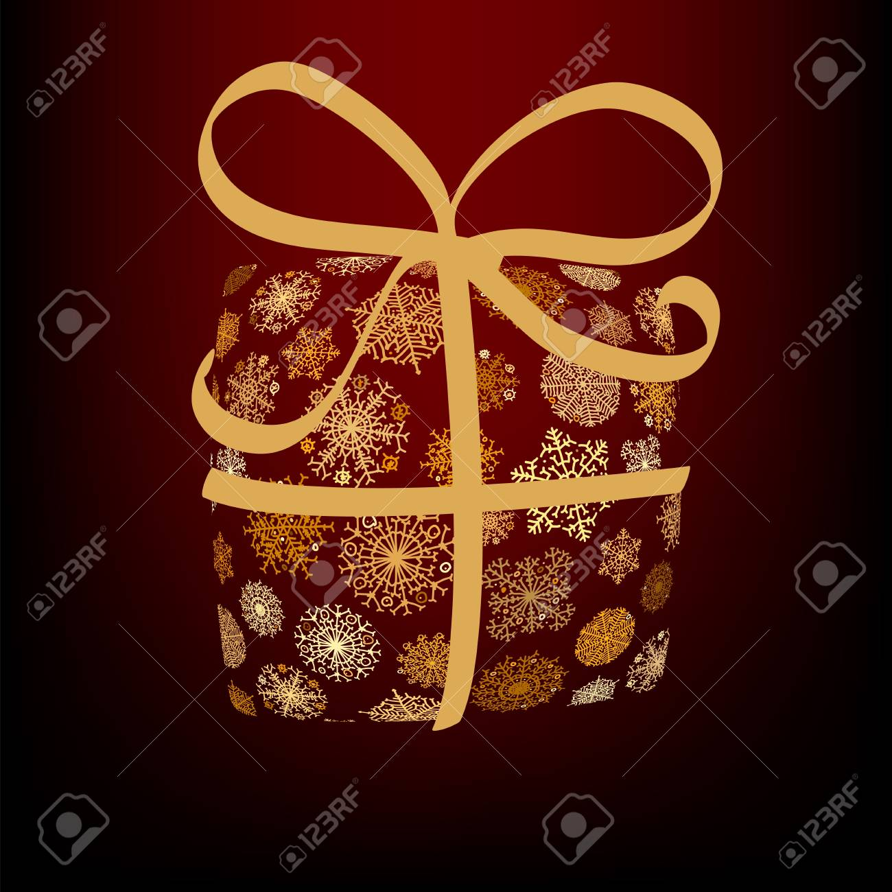 Christmas box made from golden snowflakes     EPS8 Stock Vector - 17525692