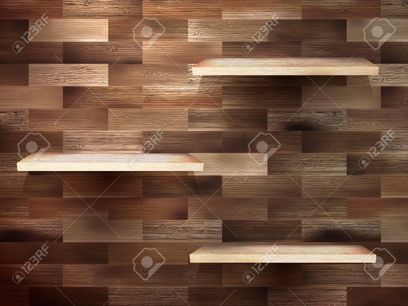 Empty shelf for exhibit on wood background Stock Vector - 20016431