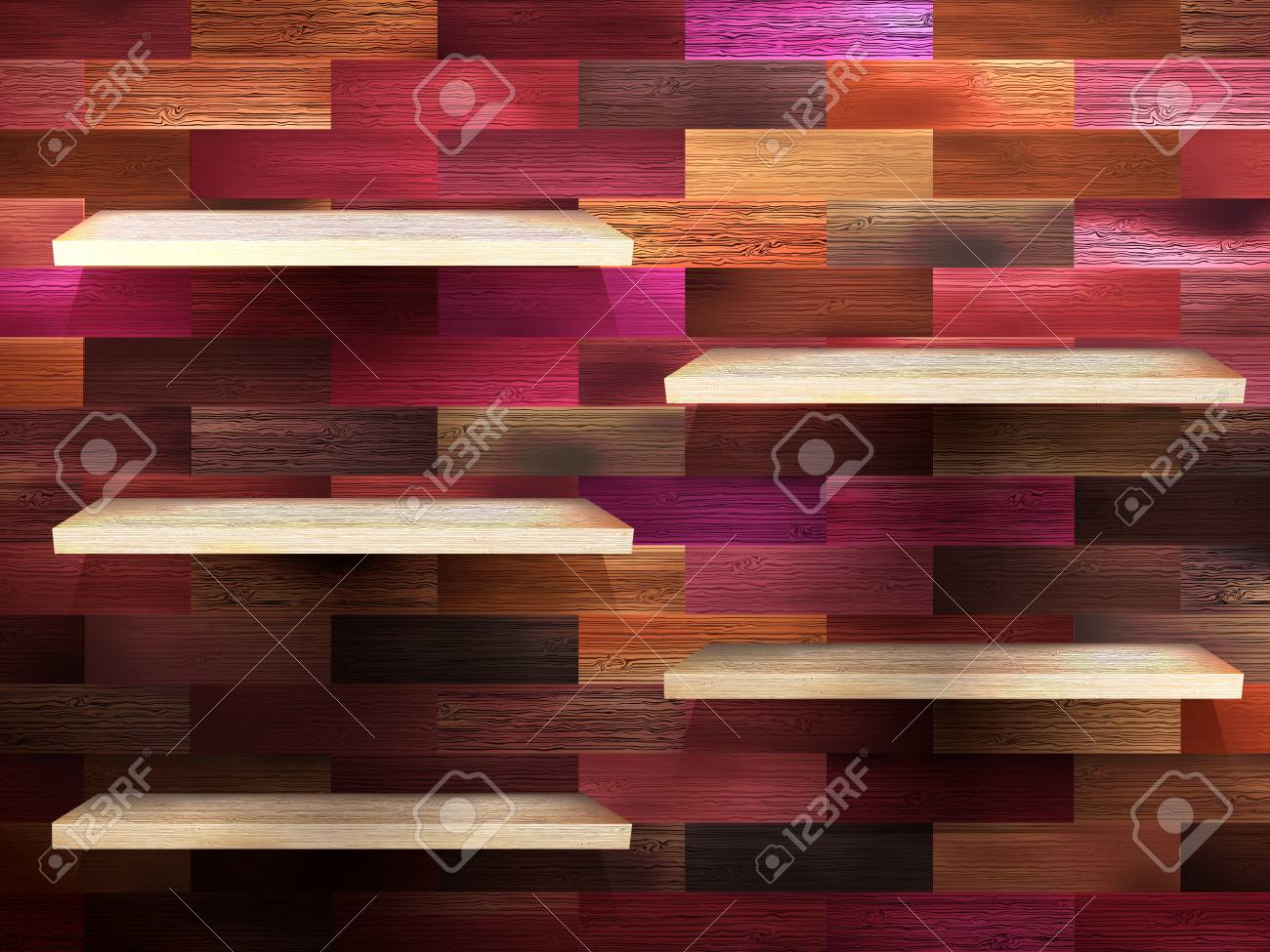 Empty shelf for exhibit on color wood Stock Vector - 20016521