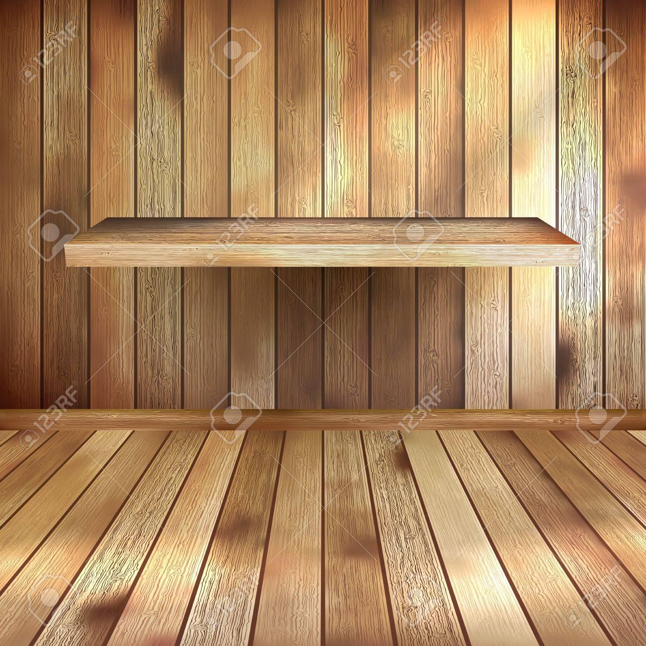 Interior wooden shelves free vector - Empty Interior With Wood Shelf Eps 10 Stock Vector 20274960