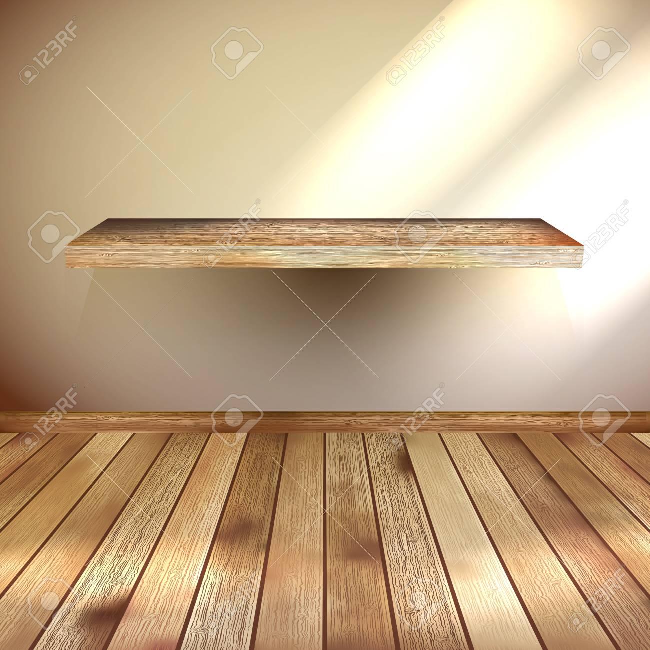 Interior wooden shelves free vector - Empty Interior With Wood Shelf Eps 10 Stock Vector 20274966