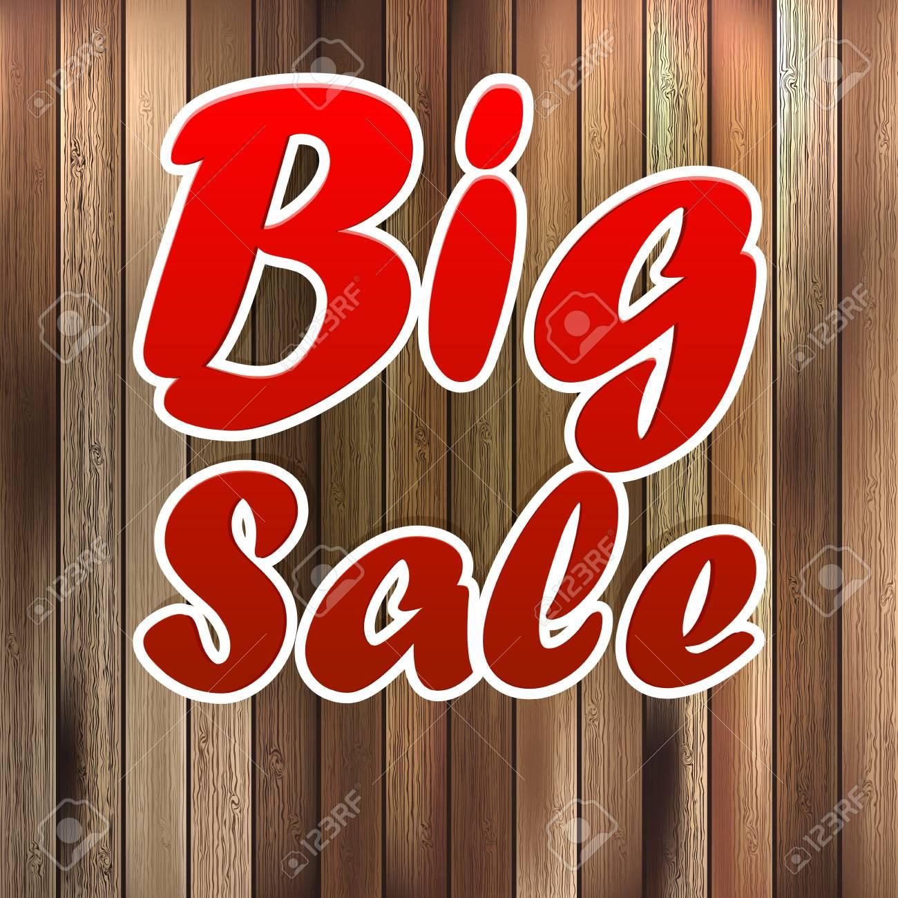 Big sale label over wood background. Stock Vector - 21205987