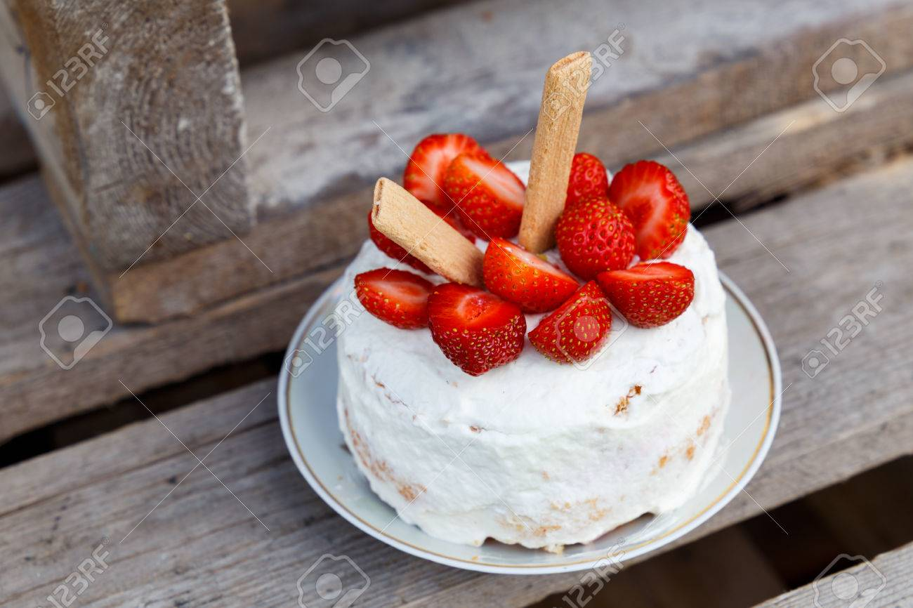 Small Birthday Cake With Strawberry Decoration Stock Photo Picture