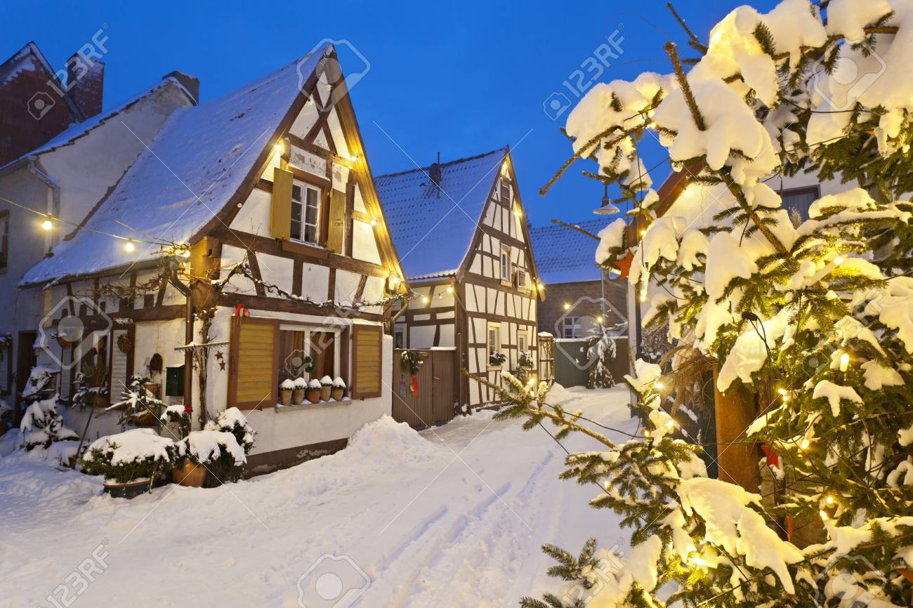 An Old Village Street With Half-timbered Houses And Christmas ...