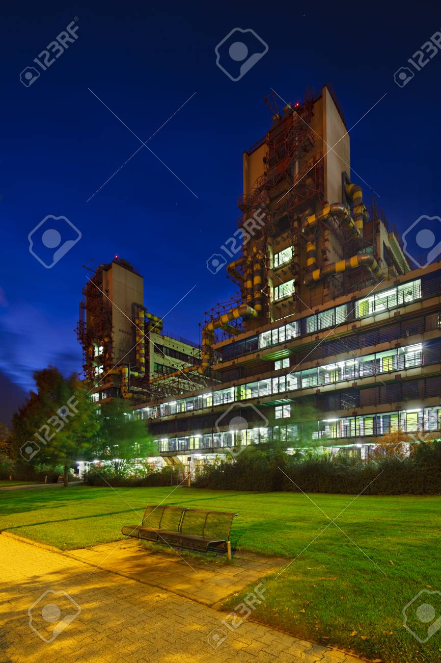 Stock Photo - The modern university clinic of Aachen, Germany with night  blue sky. Perspective corrected via lens shift.
