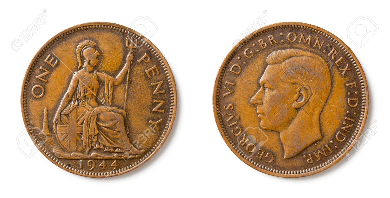 A british one penny coin from 1944 with king George VI
