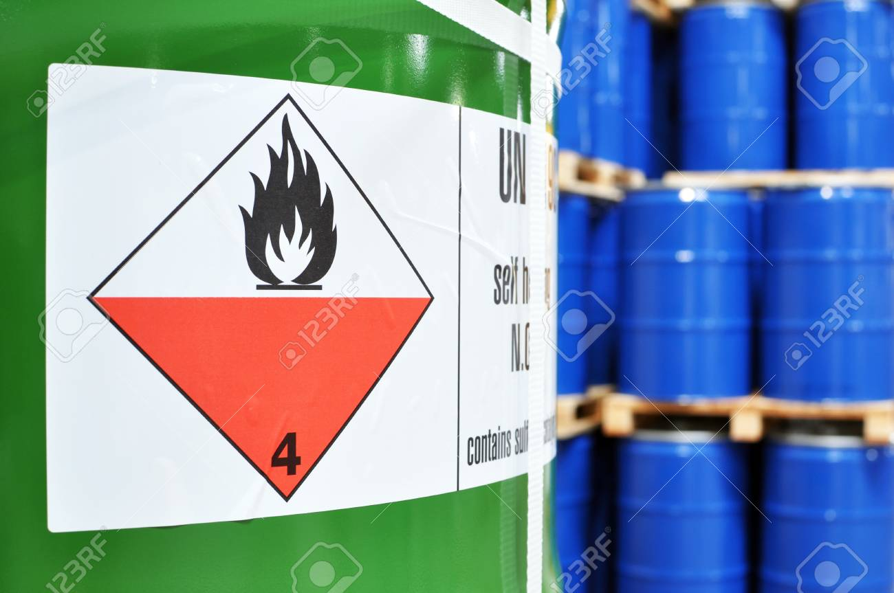 storage of barrels in a chemical factory - logistics and shipping - 92734620
