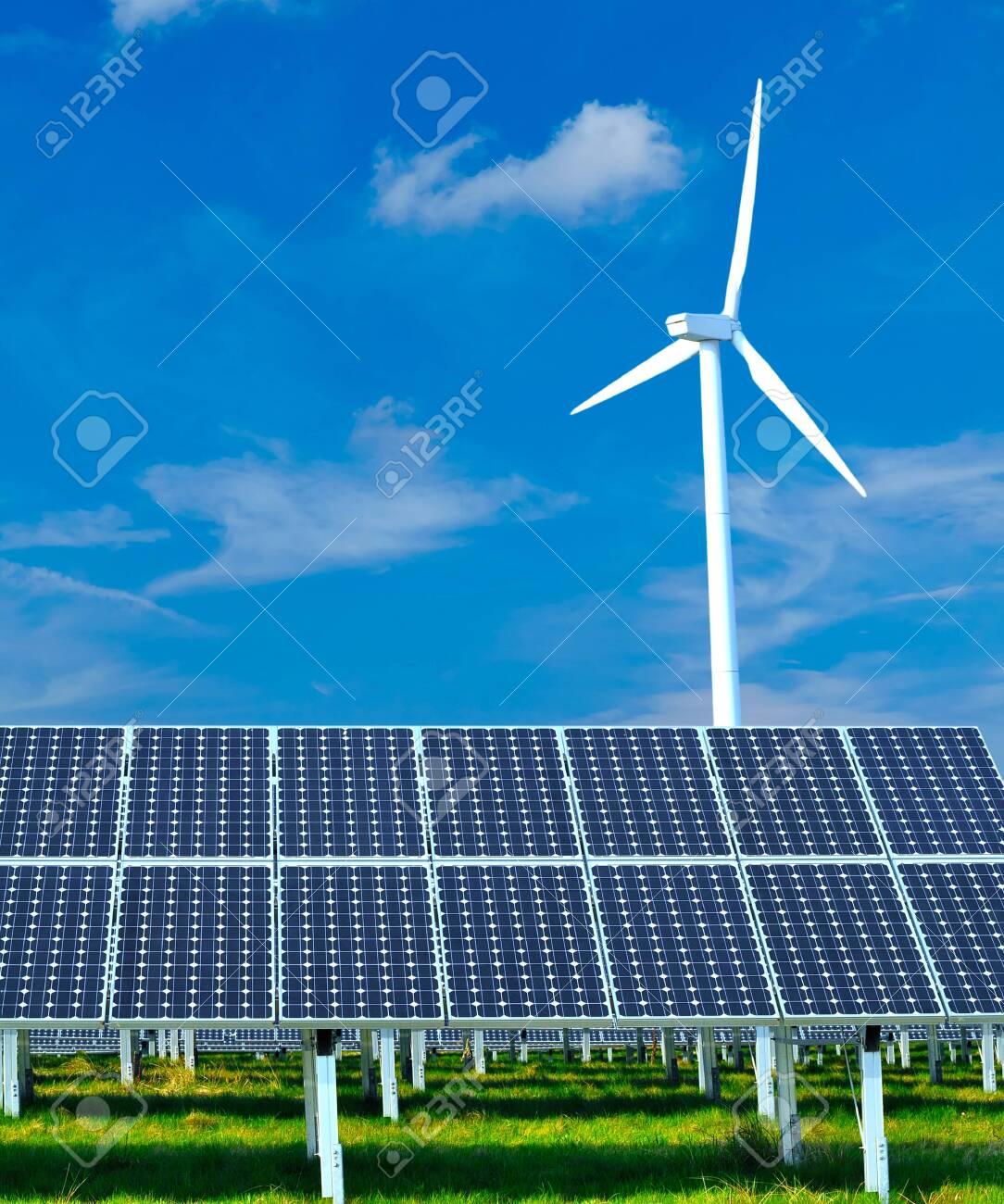 renewable energy generation - wind turbines and solar plants - 148459033