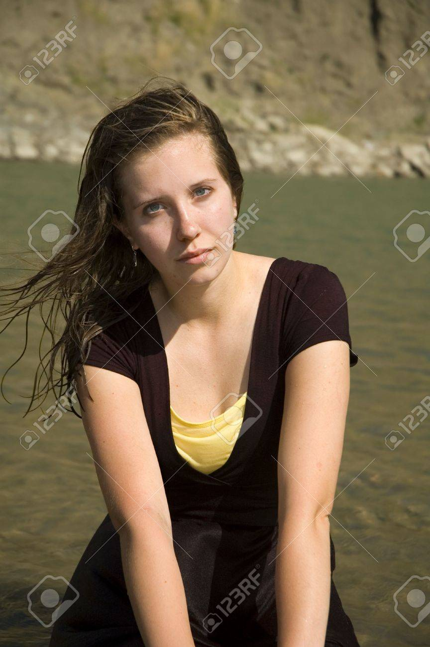 Woman Wearing A Soaked Dress In The River. Stock Photo, Picture ...