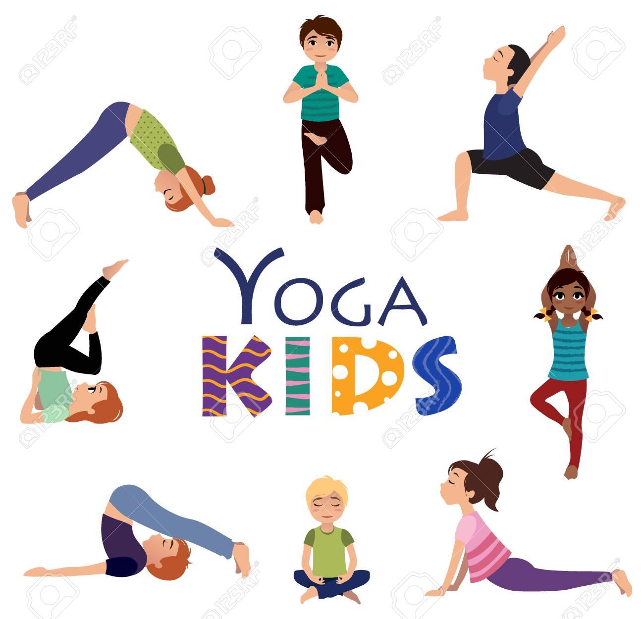 Yoga Para Ninos Asanas Conjunto De Posturas De Yoga Y Estilo De Vida Saludable Ilustracion Vectorial Ilustraciones Vectoriales Clip Art Vectorizado Libre De Derechos Image 68606130
